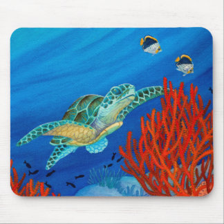 Honu and Black Coral Mouse Mat