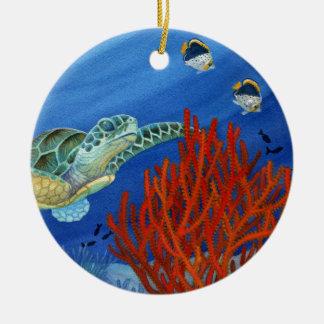 Honu and Black Coral Round Ceramic Decoration