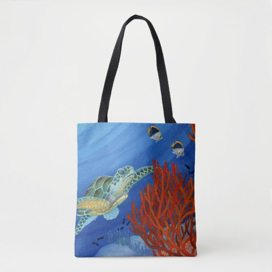 Honu and Black Coral Tote Bag