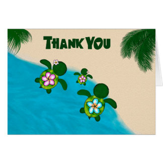 Honu GIRL Sea TURTLE Baby Shower Thank You Pink Stationery Note Card