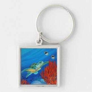 Honu (Green Sea Turtle) and Black Coral Key Ring