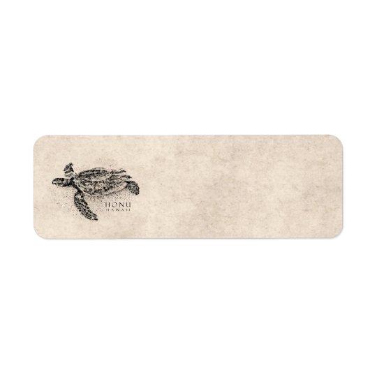 Honu Hawaiian Sea Turtle on Vintage Parchment