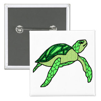 Honu in green sea turtle button