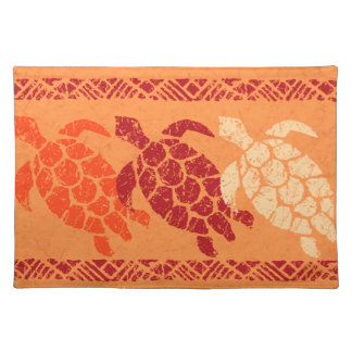 Honu Sea Turtle Hawaiian Batik - Papaya and Red Placemat