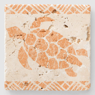 Honu Sea Turtle Hawaiian Tapa -Papaya Stone Coaster