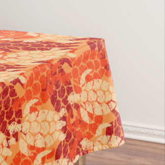 Honu Sea Turtle Hawaiian Tapa -Papaya Tablecloth