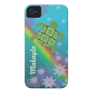 Honu Sea Turtle Tropical Swim Rainbow and Flowers iPhone 4 Case-Mate Cases