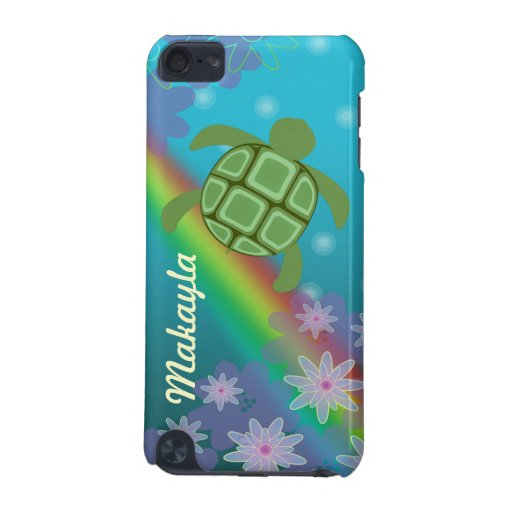 Honu Sea Turtle Tropical Swim Rainbow and Flowers iPod Touch 5G Covers