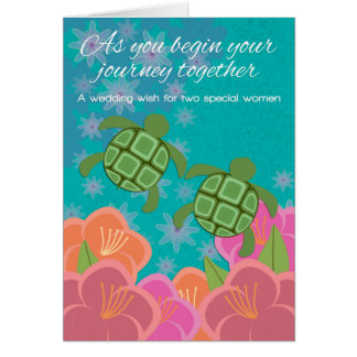 Honu Sea Turtles Lesbian Wedding Congratulations Card