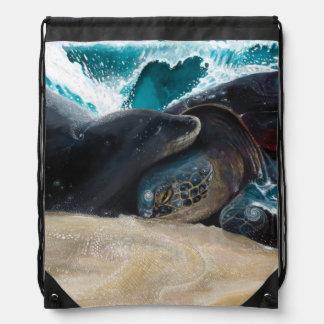 Honu Seal Aloha Drawstring Backpack