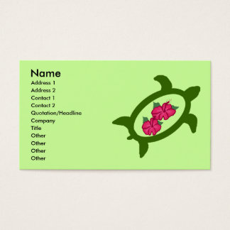 Honu with hibiscus flowers business cards