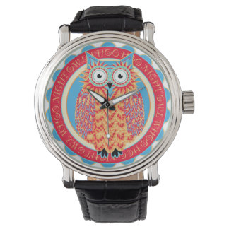 Hoo Hoo Cute Little Owl Drawing in Bright Colors Wristwatches