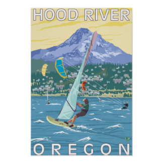 Hood River, ORWind Surfers & Kite Boarders Poster
