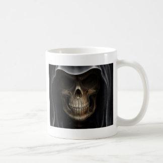 Hooded Skull - Grim Reaper Basic White Mug