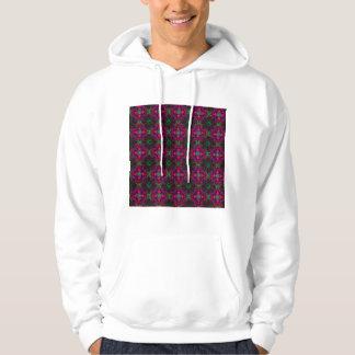 Hooded Sweatshirt - Fractal Pattern pink green