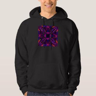 Hooded Sweatshirt Fractal Pattern Purple Blue Pink