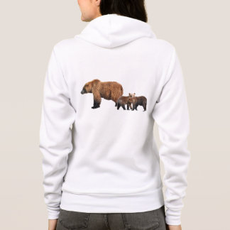 hoodie with two grizzly bear cubs plus mom
