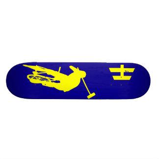 Hoodman Polo Blue Yellow Custom Skateboard
