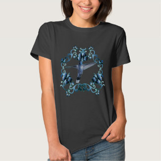 Hoody with hummingbird in blue flower ring