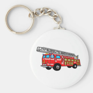 Hook and Ladder Fire Engine Basic Round Button Key Ring