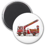 Hook and Ladder Fire Truck 6 Cm Round Magnet