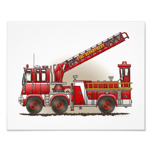 Hook and Ladder Fire Truck Photographic Print