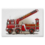 Hook and Ladder Fire Truck Posters