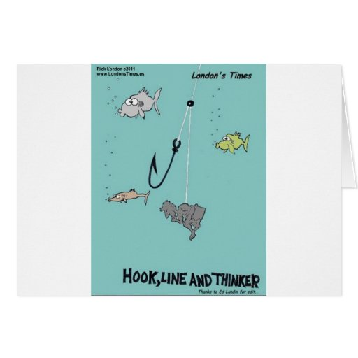 Hook Line & Thinker Funny Gifts Tees & Cards Cards