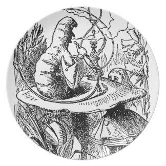 Hookah Smoking Caterpillar Alice in Wonderland Dinner Plates