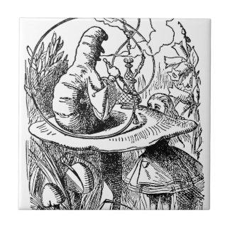 Hookah Smoking Caterpillar Alice in Wonderland Small Square Tile