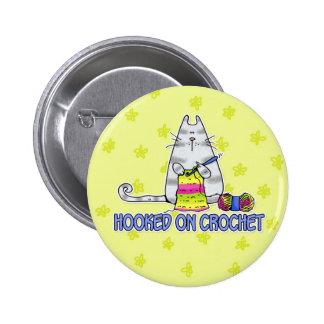 hooked on crochet 6 cm round badge