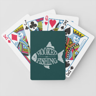 Hooked On Fishing, fun fish design, all colors Bicycle Playing Cards