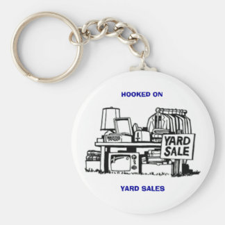 Hooked on Yard Sales Basic Round Button Key Ring