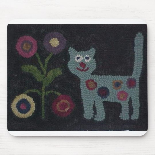 Hooked Rug Cat Mouse Mat