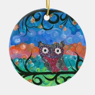 Hoolandia (c) 2013 – Expressions Owl 02 Round Ceramic Decoration