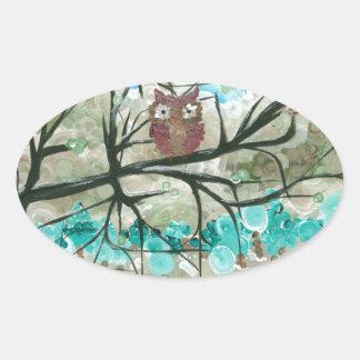 "Hoolandia (c) 2013 – Owl Seasons - ""Winter"" Oval Sticker"