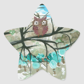 "Hoolandia (c) 2013 – Owl Seasons - ""Winter"" Star Sticker"