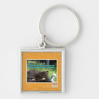 Hoomanz Silver-Colored Square Key Ring