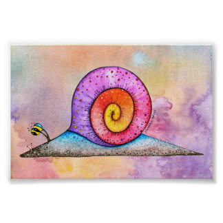 Hoopla Snail on watercolour poster