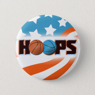 Hoops Basketball 6 Cm Round Badge