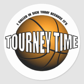 HOOPS-TOURNEY TIME ROUND STICKER