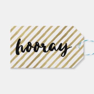 Hooray | Black & Faux Gold Stripe Gift Tags
