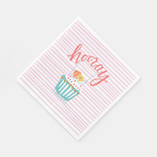 Hooray Colorful Cupcake Napkins Disposable Napkins