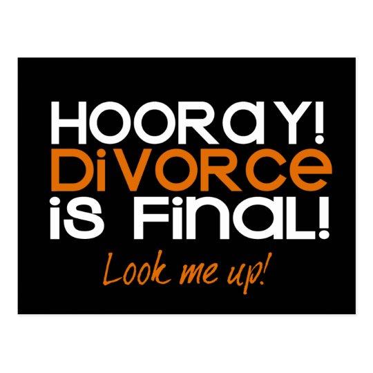 HOORAY! Divorce Announcement Cards Postcard