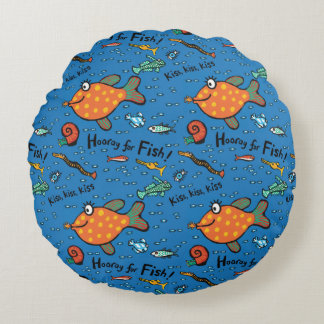 Hooray For Fish Pattern Round Cushion