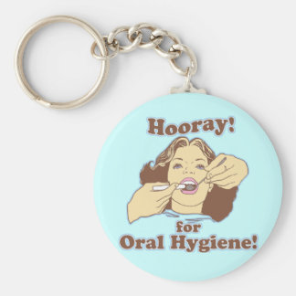 Hooray for Oral Hygiene Retro Basic Round Button Key Ring