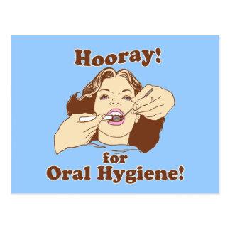 Hooray for Oral Hygiene Retro Postcard
