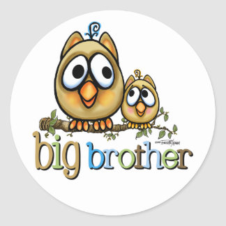 Hoot for Big Brother Classic Round Sticker