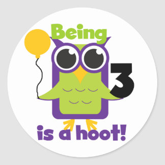Hoot Owl 3rd Birthday T-shirts and Gifts Round Sticker