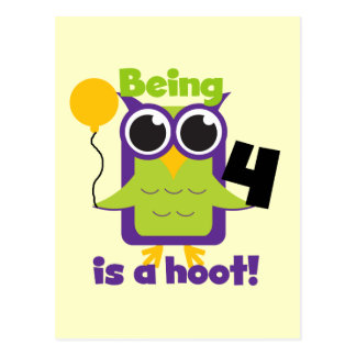Hoot Owl 4th Birthday T-shirts and Gifts Postcard